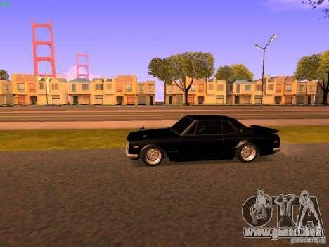 Nissan Skyline 2000GTR para GTA San Andreas vista posterior izquierda