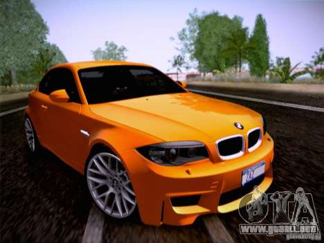 BMW 1M E82 Coupe para GTA San Andreas vista posterior izquierda