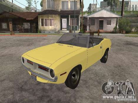 Plymouth Barracuda Rag Top 1970 para GTA San Andreas vista hacia atrás
