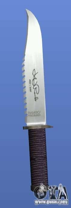 Cuchillo de Rambo con firma para GTA 4 adelante de pantalla