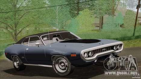 Plymouth GTX 426 HEMI 1971 para GTA San Andreas vista hacia atrás