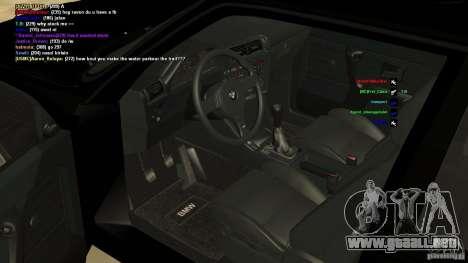 BMW M3 E30 1989 para la visión correcta GTA San Andreas