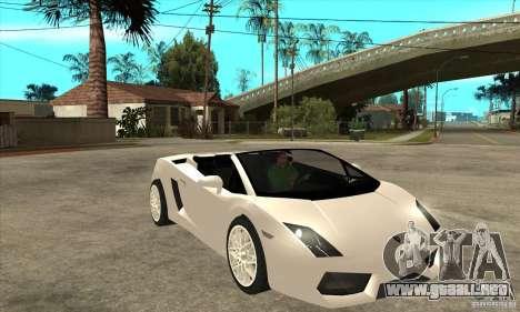 Lamborghini Gallardo Spyder v2 para GTA San Andreas vista hacia atrás