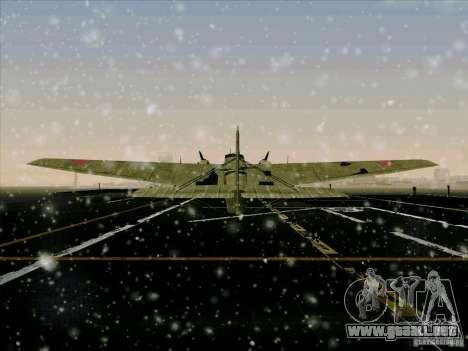 TB-3 para GTA San Andreas vista hacia atrás