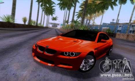 BMW M3 E92 v1.0 para GTA San Andreas vista hacia atrás