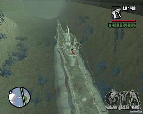 U99 German Submarine para GTA San Andreas tercera pantalla