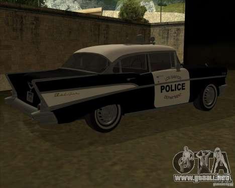 Chevrolet BelAir Police 1957 para GTA San Andreas vista posterior izquierda