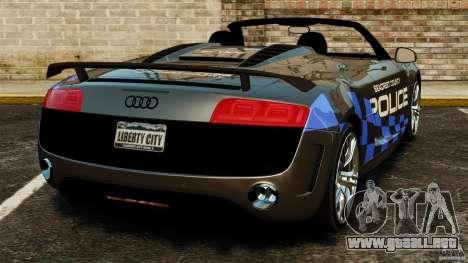 Audi R8 GT Spyder 2012 para GTA 4 Vista posterior izquierda