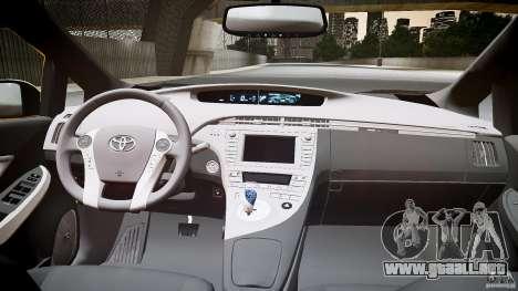 Toyota Prius NYC Taxi 2011 para GTA 4 vista hacia atrás
