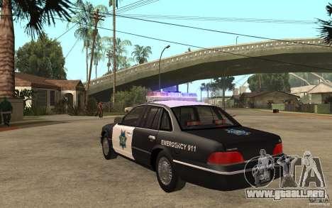Ford Crown Victoria SFPD 1992 para GTA San Andreas vista posterior izquierda