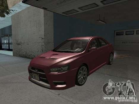 Mitsubishi Evolution X Stock-Tunable para la vista superior GTA San Andreas