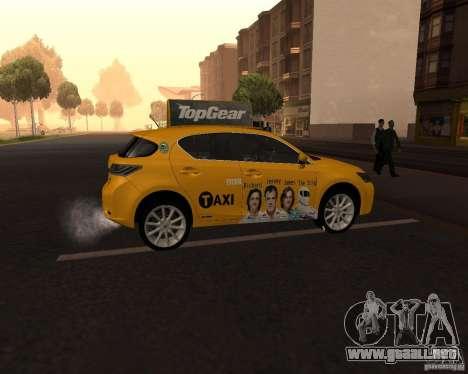Lexus CT 200h 2011 Taxi para la visión correcta GTA San Andreas