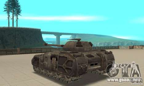 Tanque Rhino-UT para GTA San Andreas vista posterior izquierda