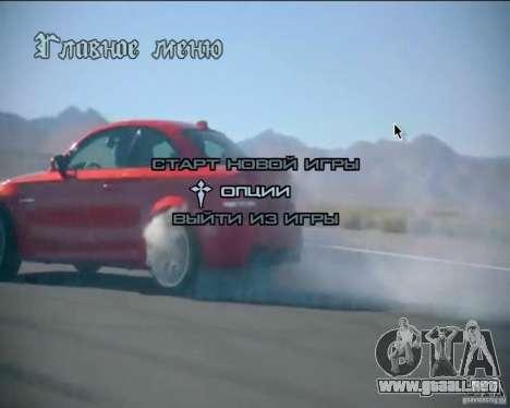 En el menú de video de fondo para GTA San Andreas tercera pantalla