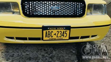 Ford Crown Victoria NYC Taxi 2004 para GTA 4 vista hacia atrás