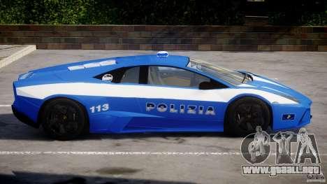 Lamborghini Reventon Polizia Italiana para GTA 4 Vista posterior izquierda