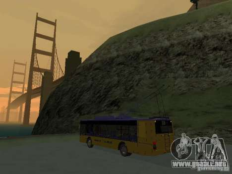 Trolebús LAZ e-183 para GTA San Andreas vista hacia atrás