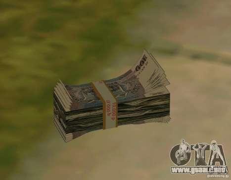Rublos, junto con dólares para GTA San Andreas segunda pantalla