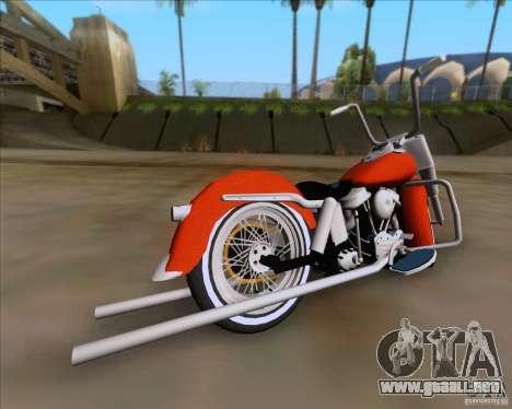 Harley-Davidson FL Duo Glide 1961 (Lowrider) para GTA San Andreas vista posterior izquierda
