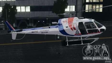 Eurocopter AS350 Ecureuil (Squirrel) Malaysia para GTA 4 Vista posterior izquierda