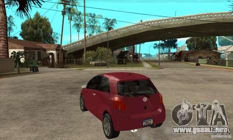 Toyota Yaris para GTA San Andreas vista posterior izquierda