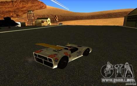 Nissan R381 para GTA San Andreas vista posterior izquierda