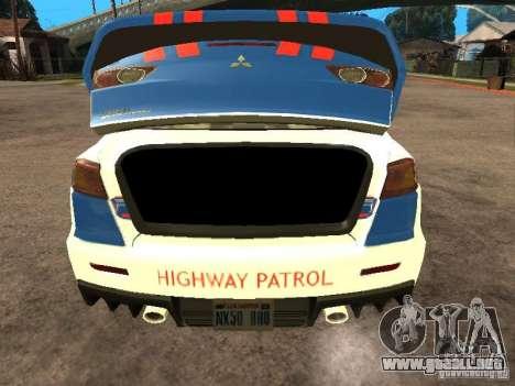 Mitsubishi Lancer X Police Indonesia para GTA San Andreas vista hacia atrás