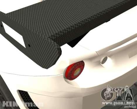 Lotus Evora Type 124 para GTA San Andreas vista posterior izquierda