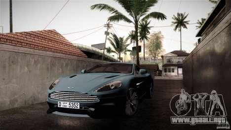 Aston Martin Vanquish V12 para GTA San Andreas vista hacia atrás
