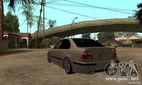 BMW E39 M5 Sedan para GTA San Andreas vista posterior izquierda