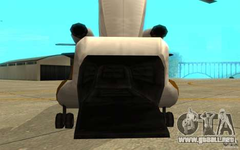 GTA SA Chinook Mod para GTA San Andreas vista hacia atrás
