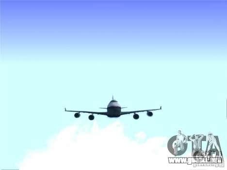 Boeing 747-400 Malaysia Airlines para GTA San Andreas vista hacia atrás