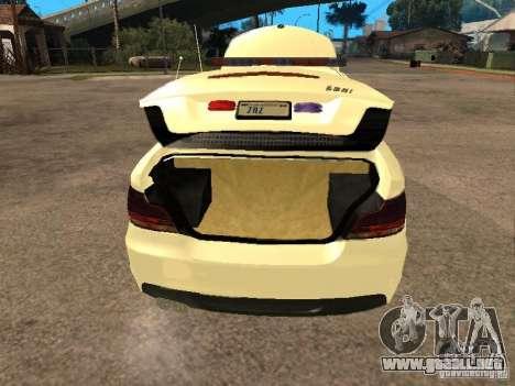 Bmw 135i coupe Police para GTA San Andreas vista hacia atrás