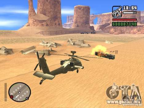 AH-64D Longbow Apache para la vista superior GTA San Andreas