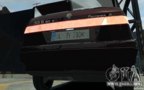 Alfa Romeo 33 para GTA 4 vista hacia atrás