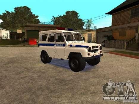 Policía UAZ para GTA San Andreas vista posterior izquierda