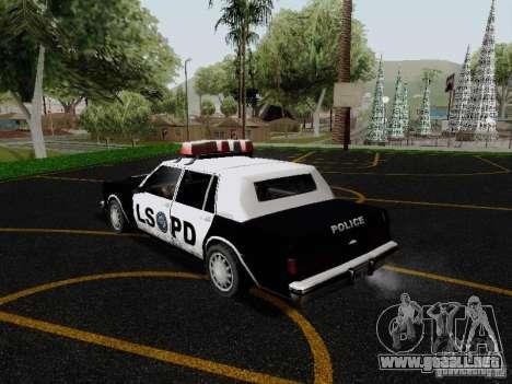 Greenwood Police LS para GTA San Andreas vista posterior izquierda
