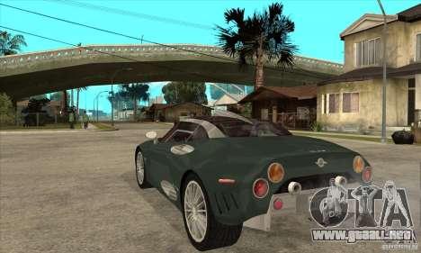 Spyker C8 Laviolete para GTA San Andreas vista posterior izquierda