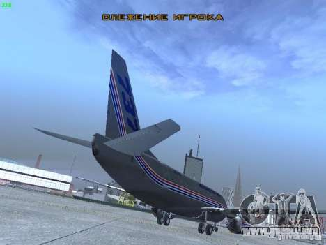 Boeing 737-500 para GTA San Andreas vista hacia atrás