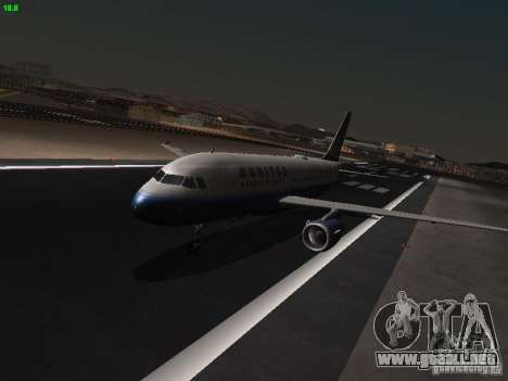 Airbus A319 United Airlines para GTA San Andreas left