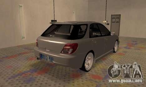 Subaru Impreza WRX Wagon para GTA San Andreas vista posterior izquierda