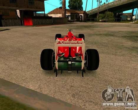 Ferrari Scuderia F2012 para GTA San Andreas vista posterior izquierda