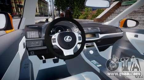 Lexus CT200h 2011 para GTA 4 visión correcta