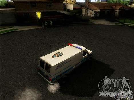 Chevrolet VAN G20 NYPD SWAT para visión interna GTA San Andreas