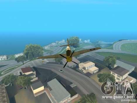 P-51 Mustang para GTA San Andreas vista hacia atrás