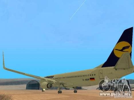 Boeing 737-800 Lufthansa para GTA San Andreas vista posterior izquierda