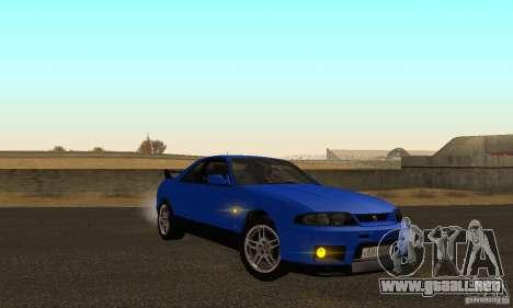 Nissan Skyline GT-R R-33 v2.0 para GTA San Andreas vista hacia atrás