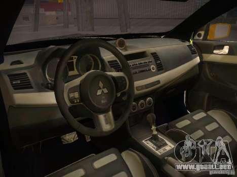 Mitsubishi Lancer Evo X Tunable para GTA San Andreas vista posterior izquierda