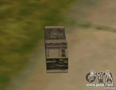 Rublos, junto con dólares para GTA San Andreas tercera pantalla