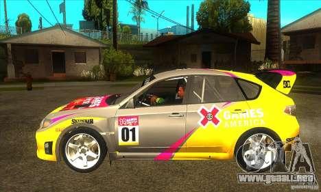 Subaru Impreza WRX STi X Juegos América de DIRT  para GTA San Andreas left